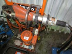 HOLMATRO 110 VOLT HYDRAULIC LARGE OUTPUT POWER PACK WITH CUTTING JAWS AND HOSES. YEAR 2006, MODEL N