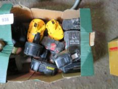 BOX OF BATTERY TOOL BATTERIES, CONDITION UNKNOWN.