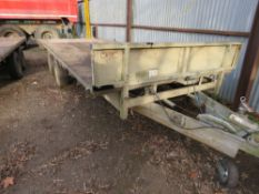 "IFOR WILLIAMS HEAVY DUTY 16FT X 6FT6"" APPROX TWIN AXLED PLANT TRAILER. WITH HEADBOARD. SOLD UNDER TH"