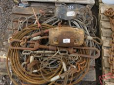 PALLET OF 2 X CABLE PULLERS PLUS CABLES ETC.