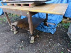 HEAVY DUTY WHEELED WELDING TABLE, 2.44M X 1.2M APPROX.