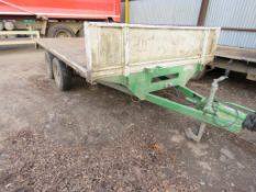 GRAHAM EDWARDS HEAVY DUTY 3.6M X 2M TWIN AXLED PLANT TRAILER. 3500KG RATED. WITH HEADBOARD. SOLD UND