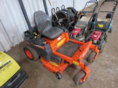 KUBOTA Z122R ZERO TURN RIDE ON MOWER YEAR 2019 157 REC HOURS. WHEN TESTED WAS SEEN TO RUN, DRIVE AND