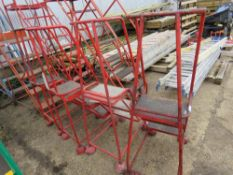 4 X 3 TREAD RED WHEELED WAREHOUSE STEPS.