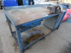 "WORKBENCH WITH VICE, 2FT6"" X 6FT APPROX."