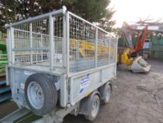IFOR WILLIAMS ELECTRIC TIPPING TWIN AXLED TRAILER. 8FTX 5FT APPROX WITH MESH SIDES. LIGHT USEAGE ONL