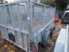 IFOR WILLIAMS GD105 10FT X 5FT PLANT TRAILER WITH MESH CAGE SIDES. YEAR 2013. SN:SCKD00000D0640585.