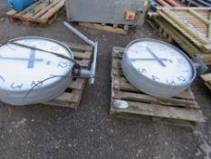 2 X LARGE 2 SIDED CLOCKS, 90CM DIAMETER. GLASS DAMAGED AS SHOWN.