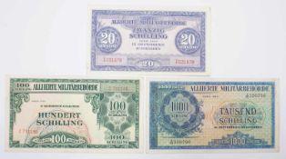 Drei Banknoten der Alliierten Militärbehörde, für Österreich