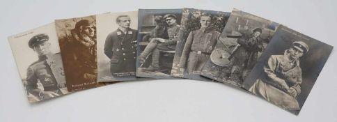 Sieben Sanke Flieger Postkarten / Ansichtkarten, 1914 - 1918