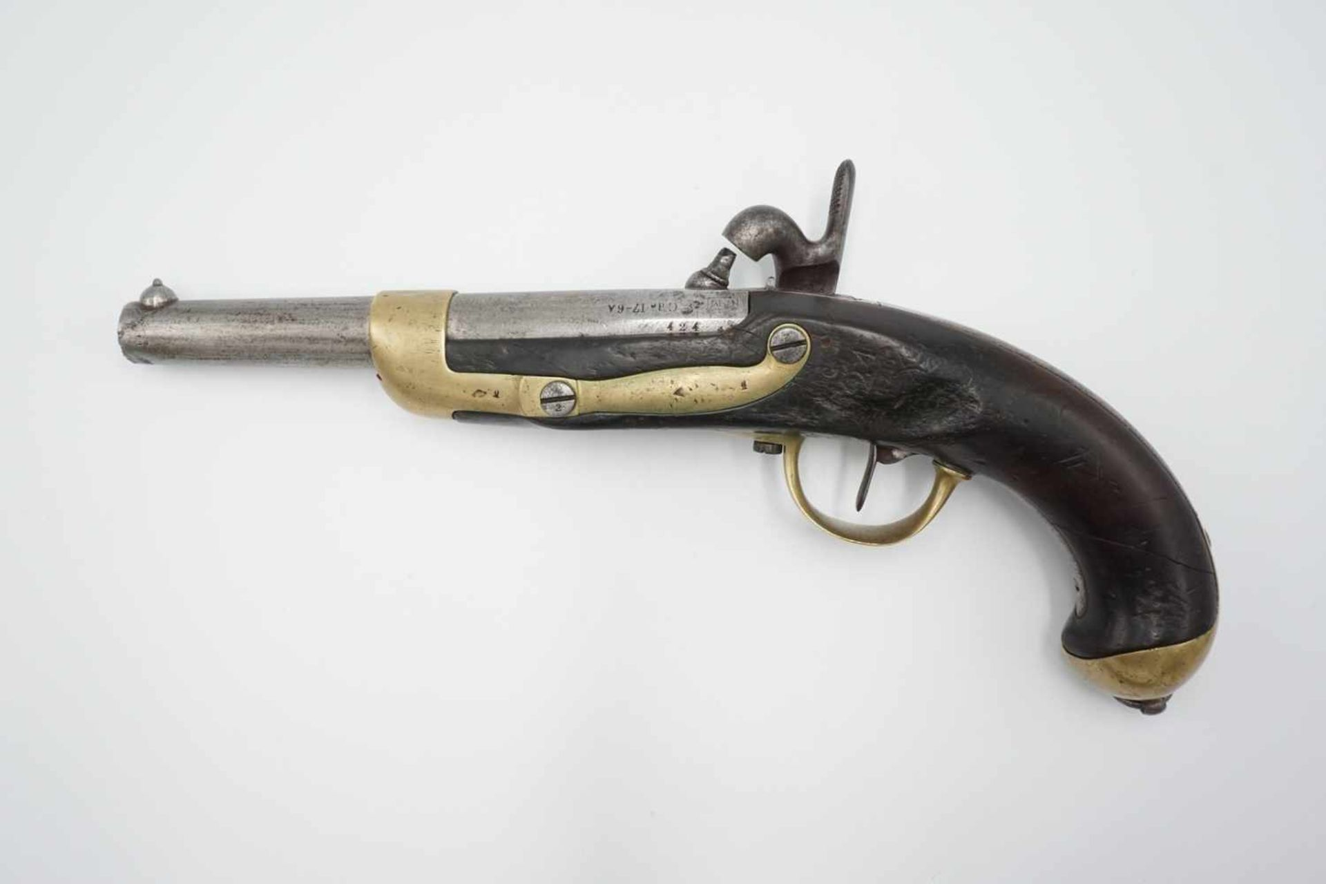 Französische Perkussions Reiterpistole M 1822 T, 1. Hälfte 19. Jh. - Bild 2 aus 4