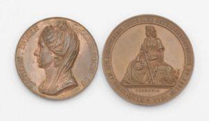 Zwei Andenken Bronzemedallen