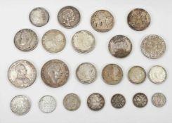 22 Münzen 1854-1936, davon 19 Silbermünzen