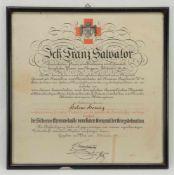 Österreichische Rot Kreuz Urkunde