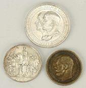 Konvolut von drei Münzen, Preußen und Russland