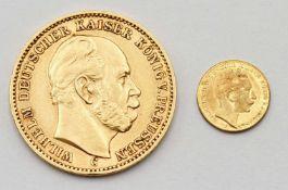 20 Mark Reichsgoldmünze Wilhelm I. und 20 Mark Miniatur Münze Wilhelm II.