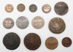 Konvolut 11 Kopeken und zwei weitere Münzen