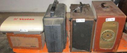 LOT OF 5 VINTAGE ELECTRONICS INCLUDING RCA VICTOR, VESTAX, AUDIOTRONCS, GENERAL ELECTRIC