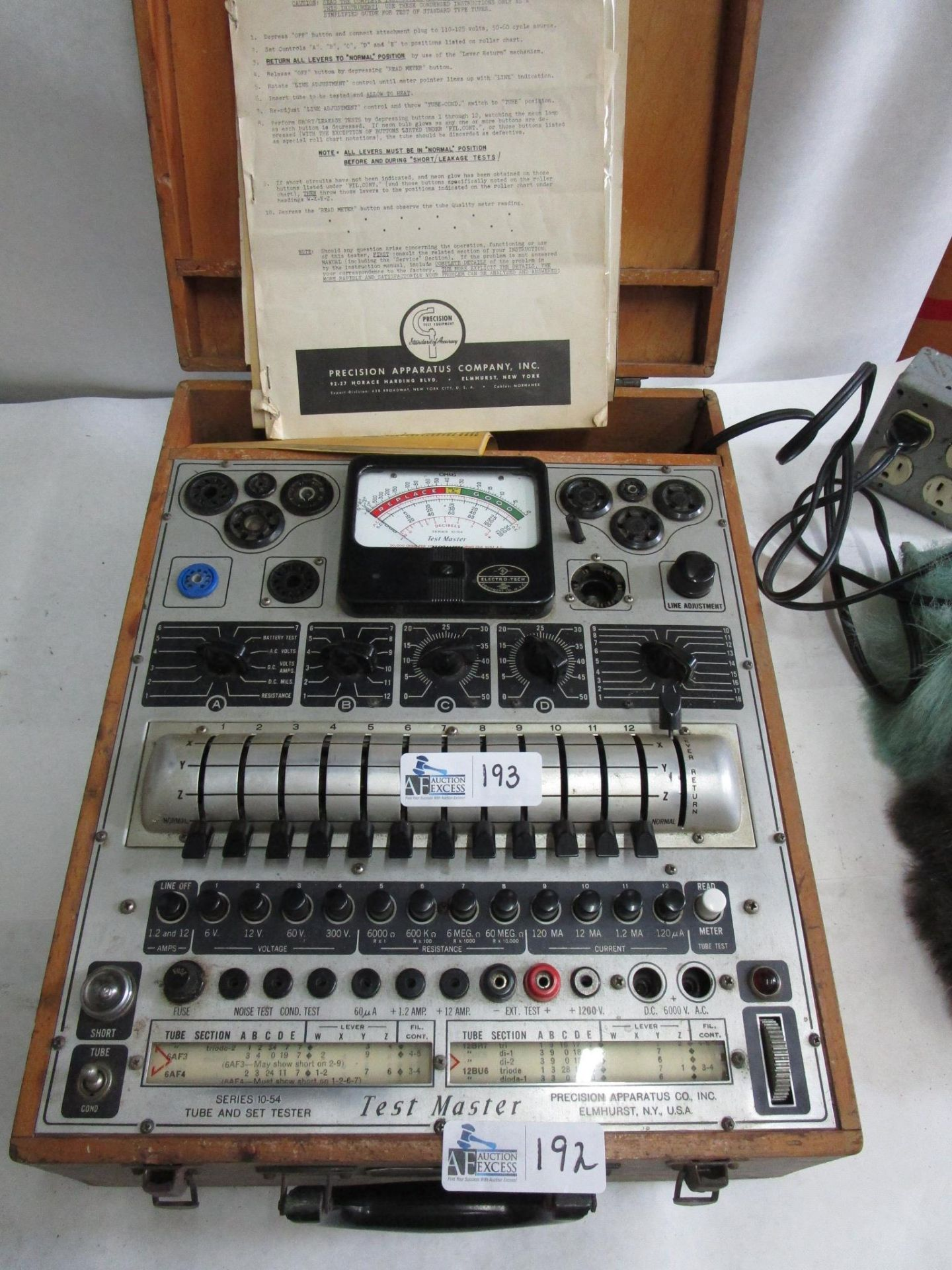 Lot 192 - PRECISION APPARATUS TUBE AND SET TESTER SERIES 10-54