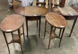 LOT OF 4 SIDE DÉCOR DARK WOOD TABLES