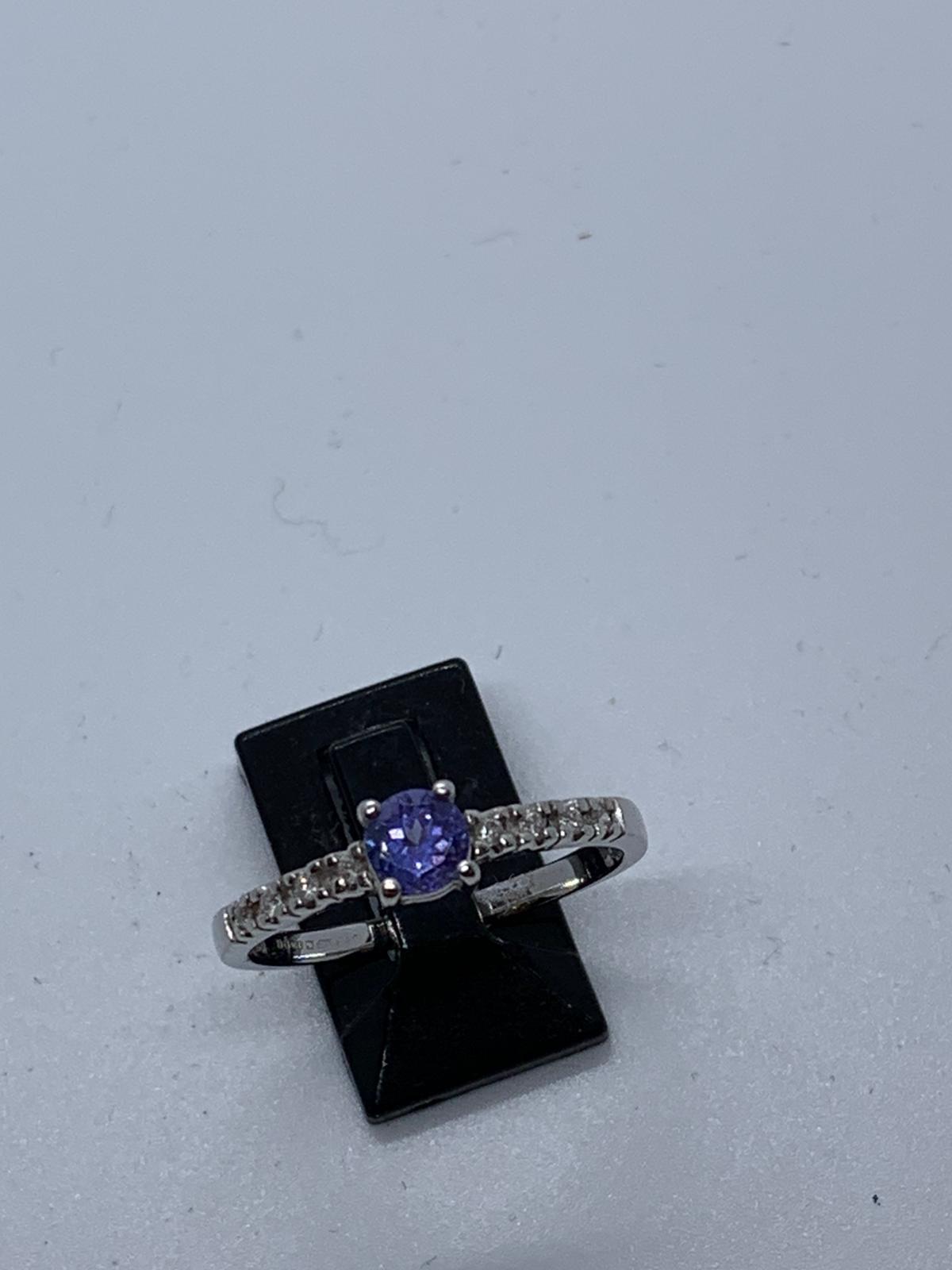 Lot 5 - 18ct white gold tanzanite & diamond ring