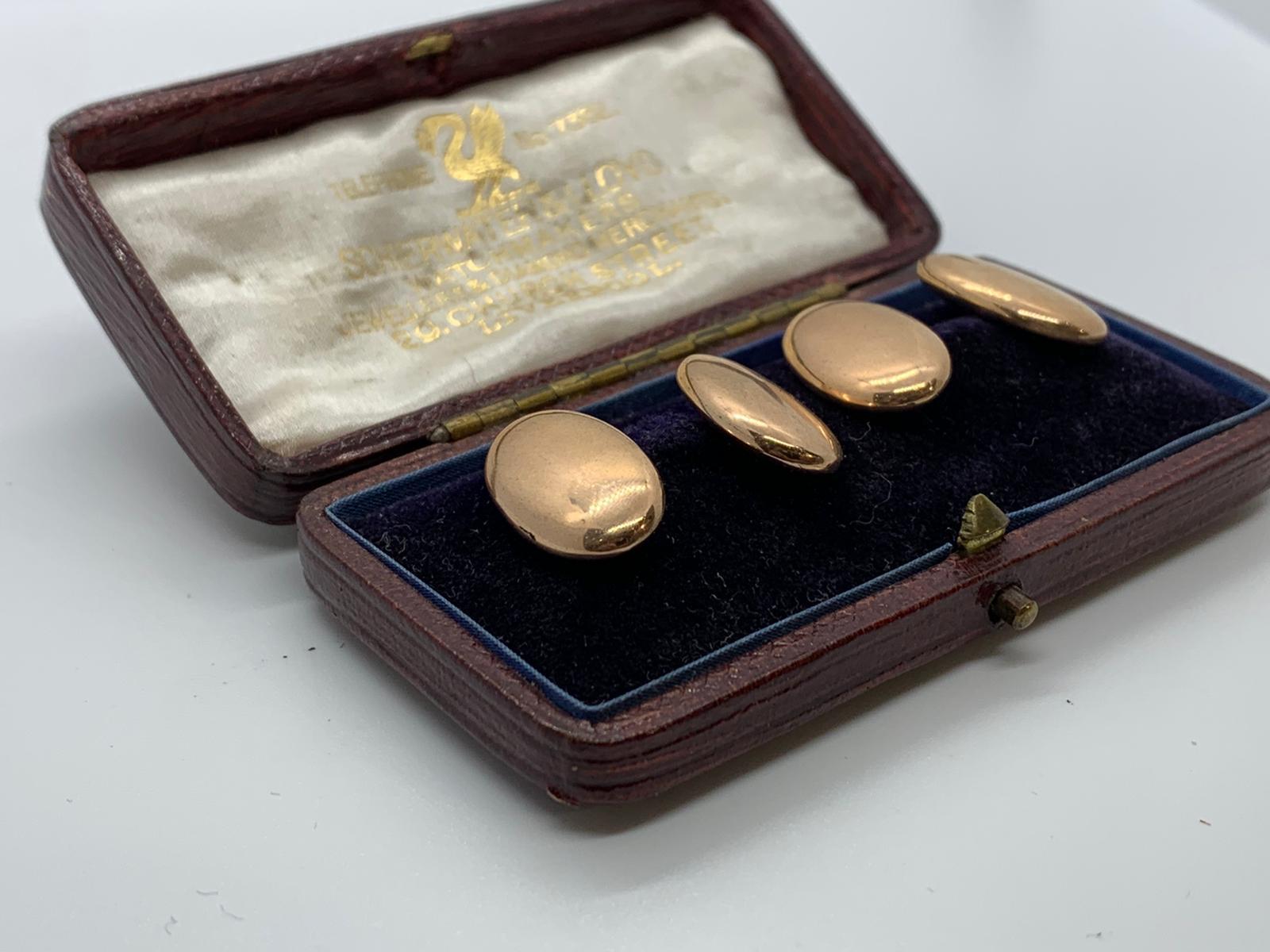 Lot 21 - 9ct rose gold cufflinks