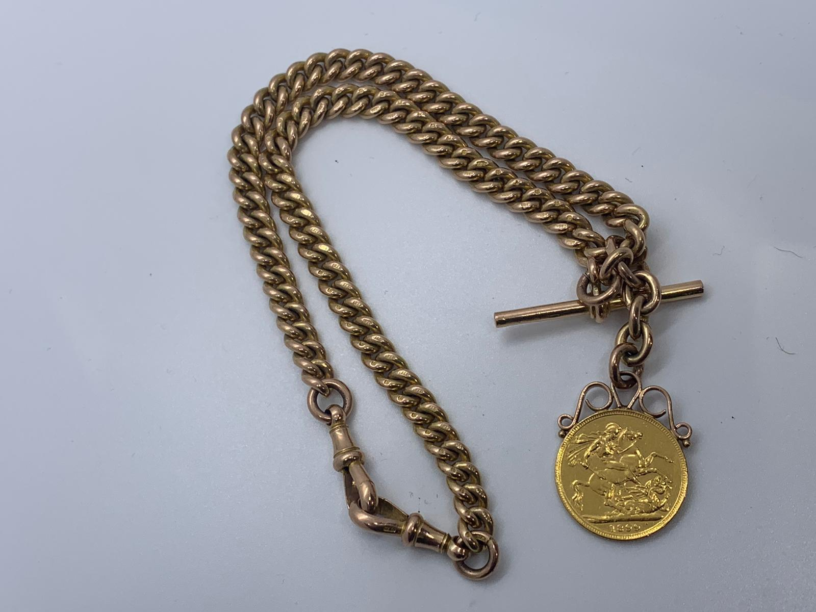 Lot 1 - 9ct gold Albert chain with sovereign