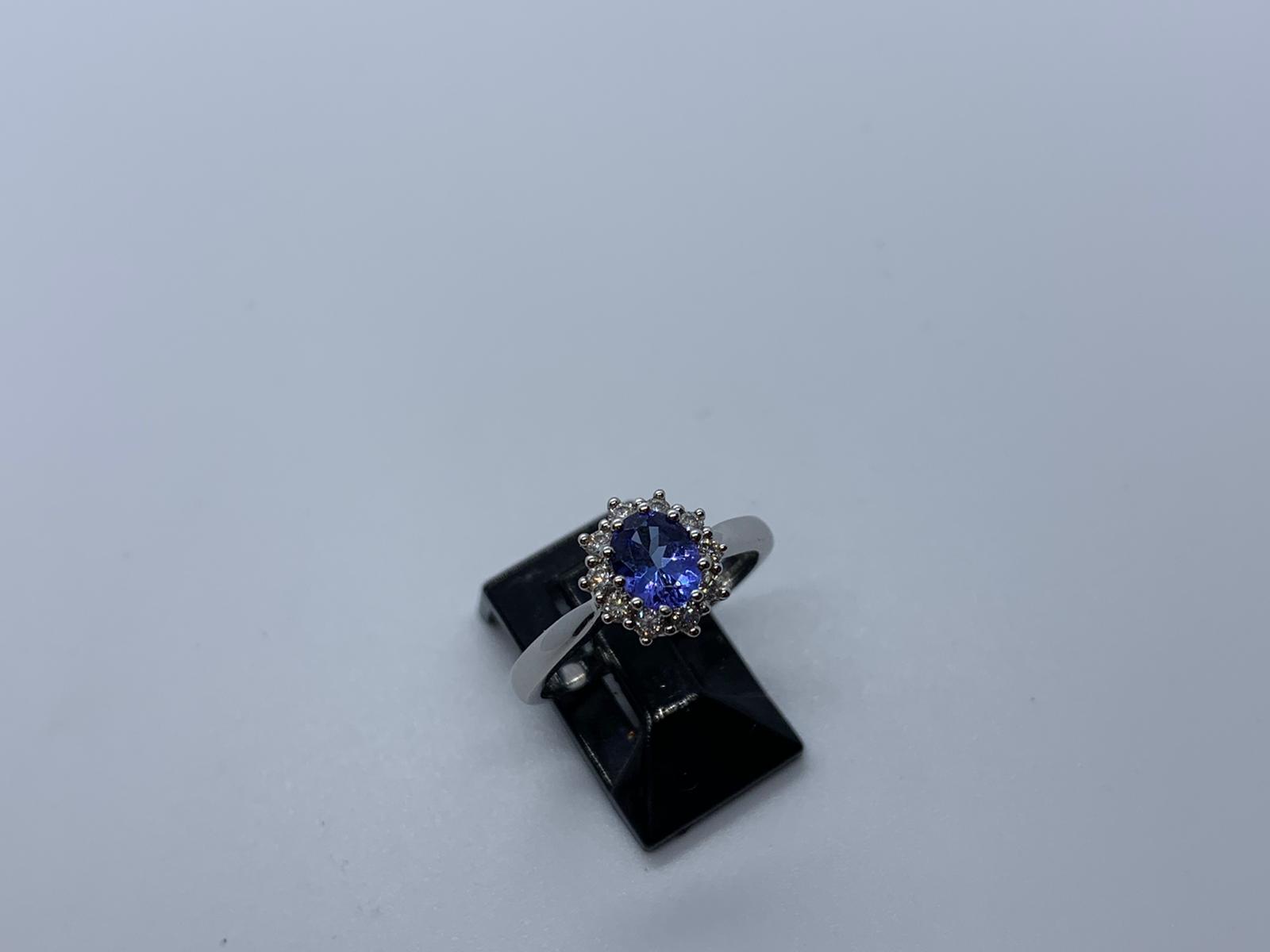Lot 9 - 18ct white gold tanzanite & diamond ring