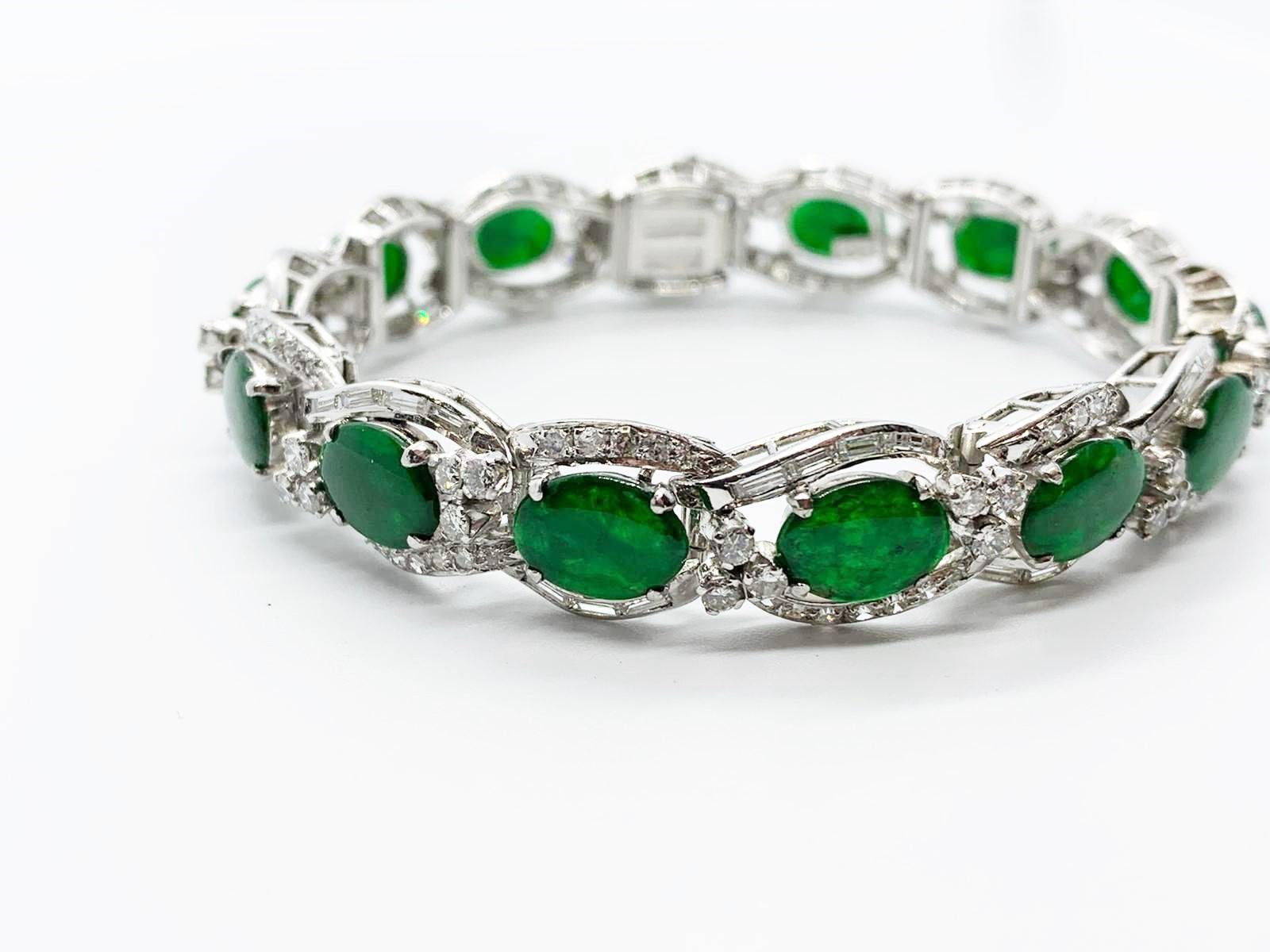 Lot 12 - Platinum, jade & diamond bracelet