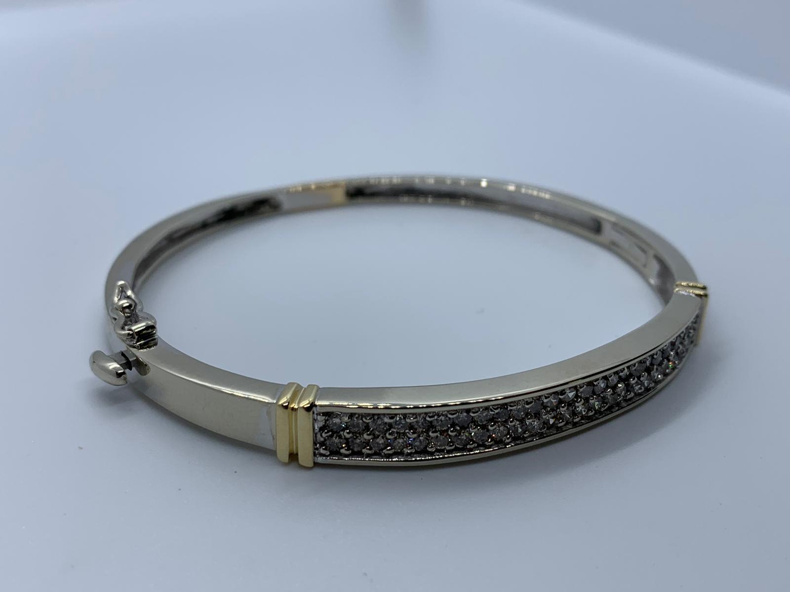 Lot 6 - 14ct 2 colour diamond bracelet