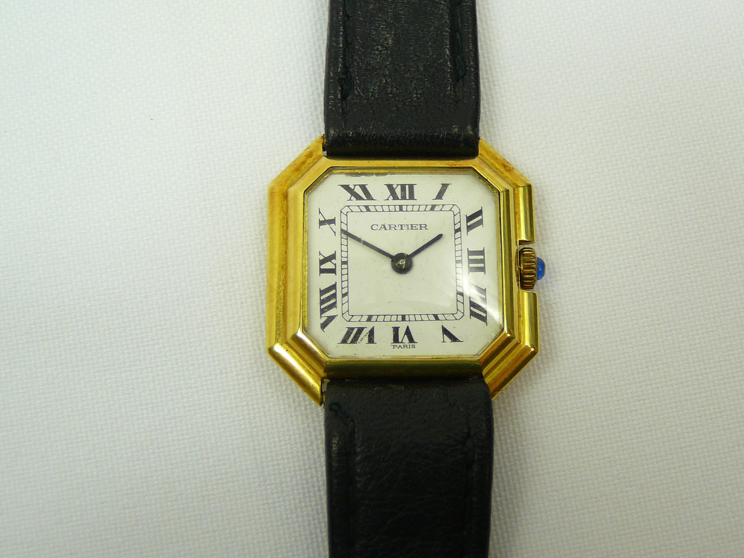 Lot 22 - Ladies gold Cartier Wrist Watch