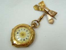 Ladies Antique Gold Brooch Fob Watch