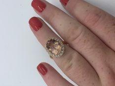 18ct rose gold morganite beryl and diamond ring