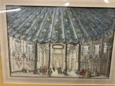 The music room, Vauxhall gardens, 1752 coloured etching W:42cm x D:cm x H:28cm