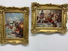 A pair of oils by J.Williamson possibly for book illustration W:24cm x D:cm x H:34cm