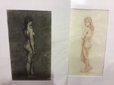 George Hodgson(1874-1921) Two unframed still life images of nudes. Mounted/unframed. Each 53cm x