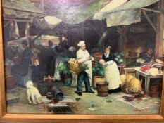 A signed oil on bard of a continental market W:39cm x D:cm x H:29cm