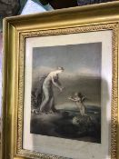 Two 18th century etching prints Love wounded and love healed in gilt frames.