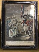 Marquis Cornwallis receiving the sons of Tippoo Saib. East Indies 1792. 18th century hand coloured