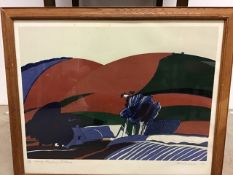 A 1970s Lino cut print in glazed frame. Spring Ploughing by Alan Richards W:62cm x D:cm x H:53cm