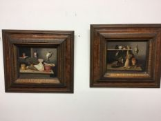 L.Parker. English school. A pair of still life oil on canvas scenes of hanging game in gilt