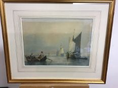 SAMUEL OWEN (1768-1857)Attr. Watercolour of Sailing ships in calm sea. In glazed gilt frame.