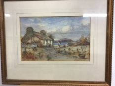 J. Hughes Clayton,(Bristish Act 1891-1929) Watercolour Early morning on the coast at Cemaes Bay,