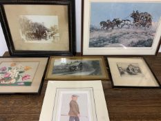 A selection of prints, etchings, etc