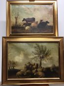 English School. Oil on Canvas. A pair of cattle scenes in gilt frames. Image: 45cm x 66cm Framed: