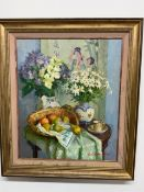 Oil on canvass by Galuluchi of a still life interior with Japanese influence W:44cm x D:cm x H:53.,
