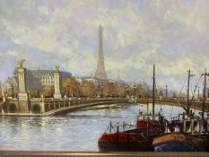 Oil on canvas 'house boats on the Seine' with Eiffel Tower in the distance by Crisp W:39cm x D: