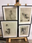 French erotica.- Chimot (Edouard, 1880-1959). Four nude etchings dry point printed with plate tone,
