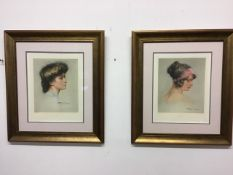 Herman Fenner-Behmer, 1866-1913. Two Intaglio portrait prints 'Roquine and Ninion' with hand