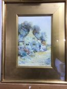 Leyton Forbes(1882-1953). Water colour, 'By the cottage door' signed bottom left in gilt glazed